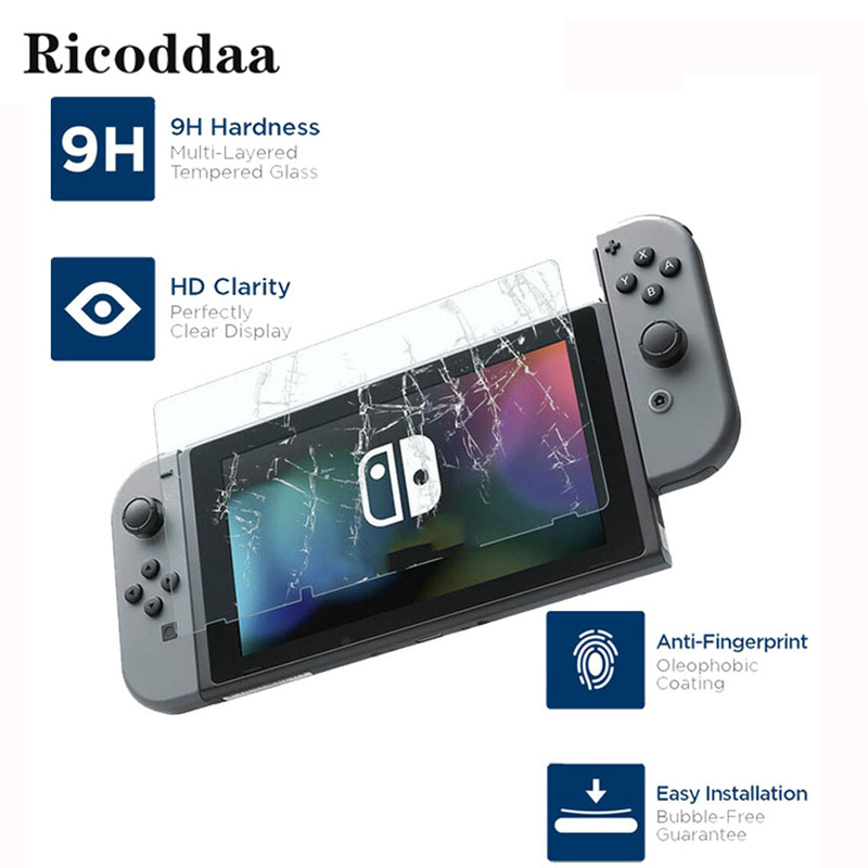 Ricoddaa Anti-Scratch HD Ultra Premium Tempered Glass Protect Film for Nintend Switch NS Console Screen Protector Cover Skin