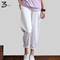 XMY3DWX Elastic Waist Linen Cotton White Women Pants Loose Casual Summer Harem Pants Women Brand Design