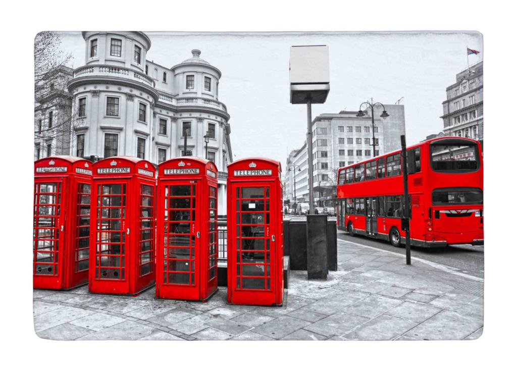 Floor Mat London City Retro Red bus and Telephone Boxes Print Non slip Rugs Carpets For