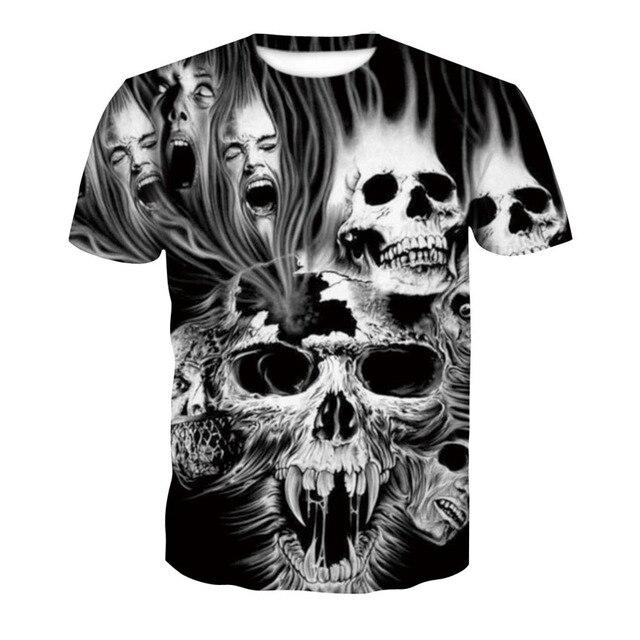 2018 new skull 3D T Shirt Summer Mens Fashion Tops Male Print harajuku wolf Men Women casual Anime T-Shirts dropshipping