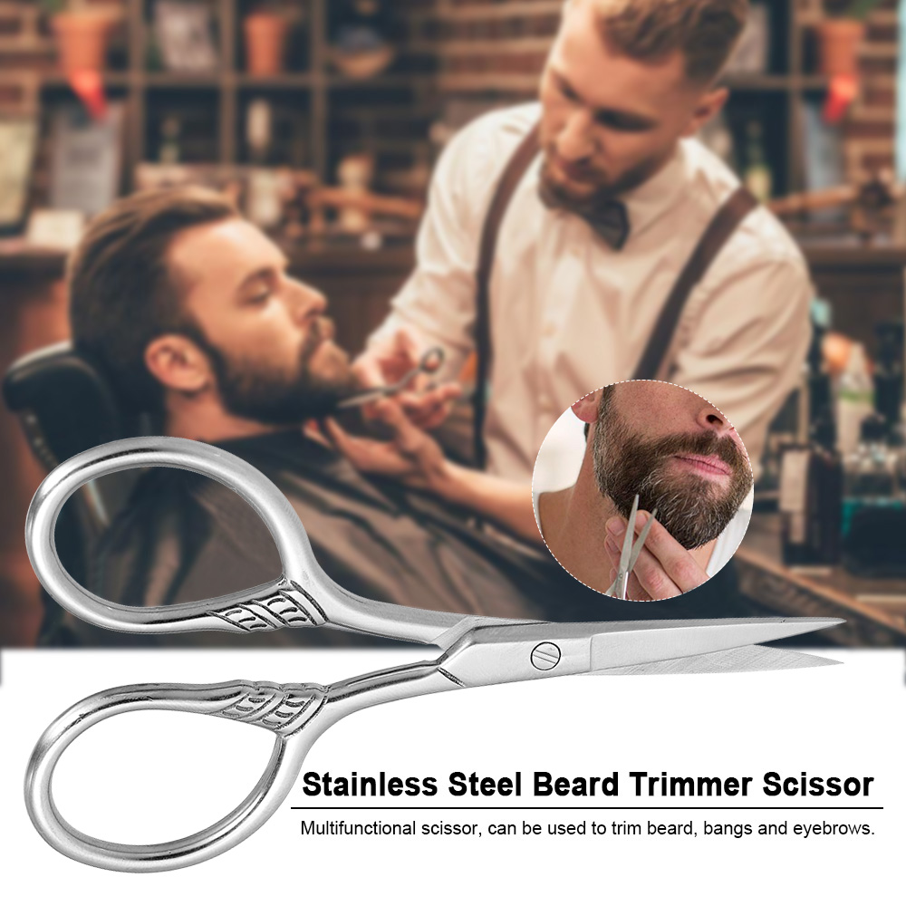 Stainless Steel Beard Trimmer Scissor Mini Size Shaving Shear Beard Trimmer Eyebrow Bang Cutting Scissor for Barber Home Use
