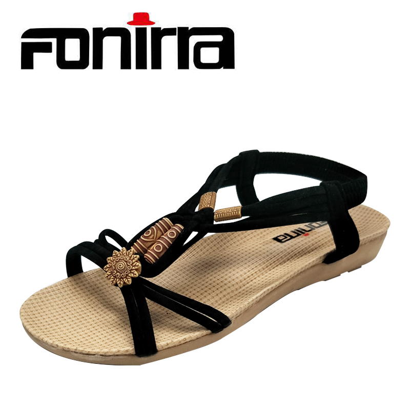 FONIRRA Chinese Style Women Sandals Gladiator Woman Shoes Ladies Summer Flats Shoes Lace Up Women Beach Sandals Shoes 123 2017 summer sandals women bohemia rhinestone flats shoes roman style gold gladiator sandals women shoes crystal snake boots