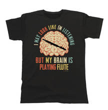 Tops Male T Shirt Crew Neck Men New Style Short Sleeve  My Brain Is Playing Flute Tee