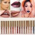 2016 nueva marca de colores brillo de labios nude maquillaje pigmento marrón de oro de metal kit de tatuaje metálico mate impermeable de terciopelo lápiz labial líquido