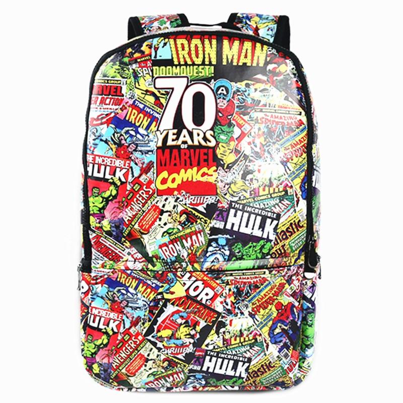 Marvel Movie 70 Anniversary Backpack Mochila of large Capacity Unisex School Bags Rucksack Notebook Computer Bag Men bagpack 2017 backpack laptop bag mochila masculina men large capacity nylon compact men s backpacks unisex women bagpack school bags