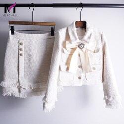 Brand Lady Wool 2 Piece Set 2018 Winter Women Diamond Bow Gold Single Breasted Short Tweed Jacket Coat+Tassel Pencil Skirt Suit