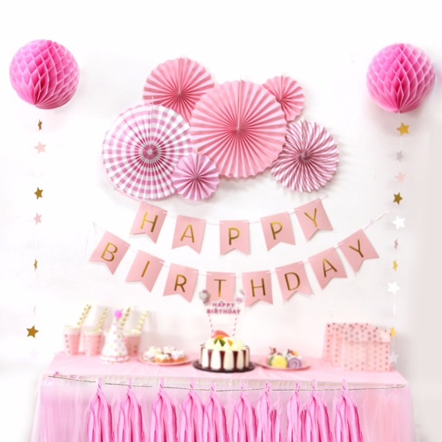Sunbeauty A Set Pink Theme Happy Birthday Decoration DIY Kids Party