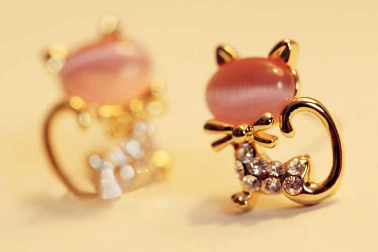 ใหม่แฟชั่นคริสตัลโอปอลต่างหูน่ารัก Fine gold Kitty เพิ่มเจาะต่างหูเครื่องประดับสำหรับผู้หญิง