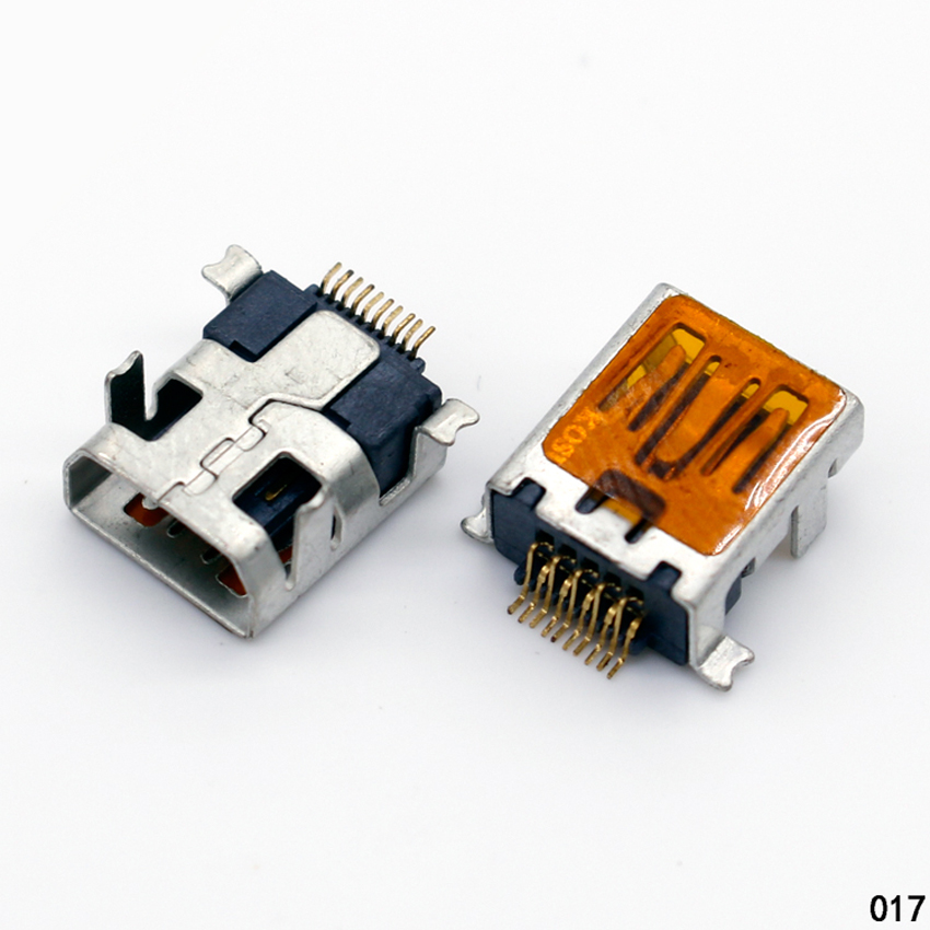 10 Pcs Female Mini USB Type B 10 Pin SMT SMD DIP Mount Jack Connector