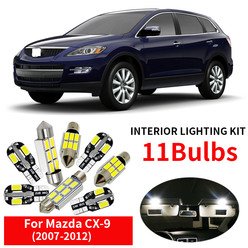 11pcs Car LED Light Bulbs Kit Canbus For 2007 2008 2009 2010 <font><b>2011</b></font> 2012 <font><b>Mazda</b></font> <font><b>CX</b></font>-<font><b>9</b></font> CX9 12V Led Map Dome Trunk License Plate Lamp image