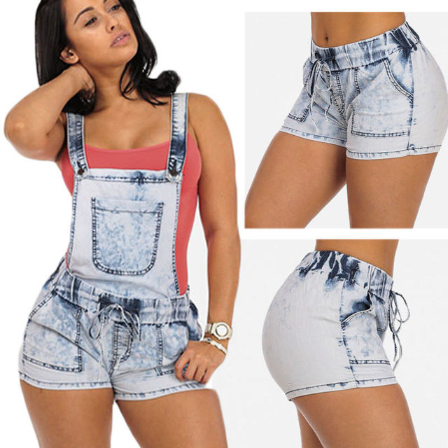 Sexy Womens Ladies Summer Jeans Jumpsuit Playsuit Denim Hot Pants Shorts  Overalls Short Skinny Lace Up Sky Blue Jeans 1fbaf6bad1e9