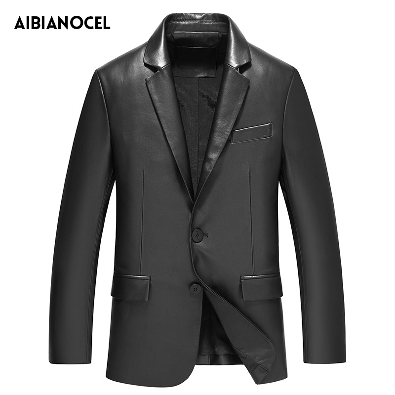 Veste de costume en cuir pour hommes col à revers veste en cuir véritable manteau en cuir véritable hommes veste de costume Slim Fit veste en peau de mouton de printemps