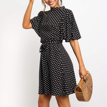Aachoae 2020 Polka Dot Dress Women Summer Boho Beach Mini Dress Casual Short Sleeve Ladies Office Elegant Dress Vestido Mujer