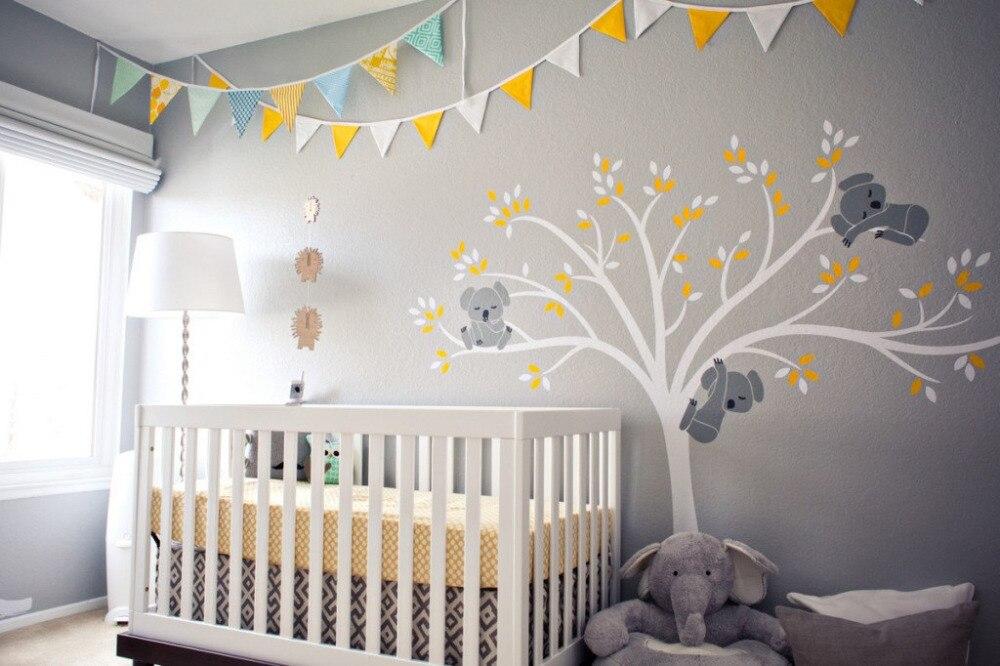 De gran tamaño oso y árbol de etiqueta de la pared para niños Koala de dibujos animados bebé guardería bebé habitación decoración vinilo etiqueta envío gratuito D456B