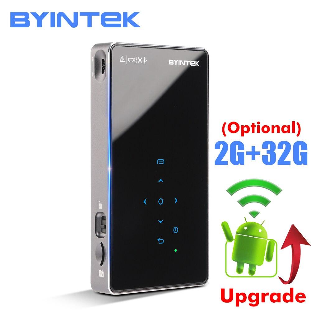 BYINTEK OVNI P8I Android 7,1 OS Pico bolsillo HD portátil láser Micro WIFI Bluetooth Mini LED, proyector DLP con batería