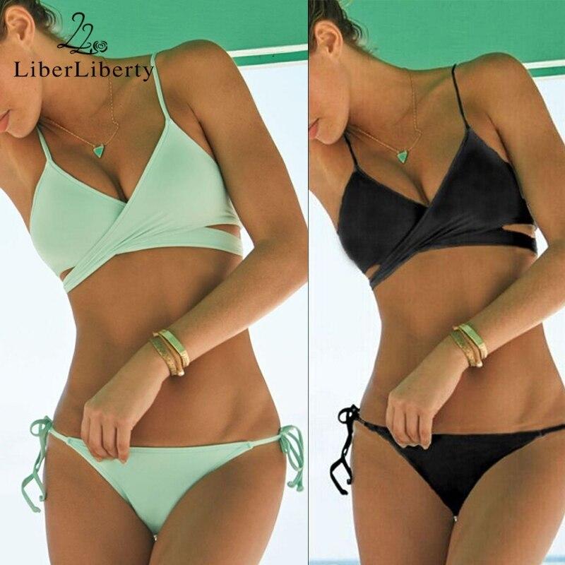 b71fb518315 Strappy Bikini Criss Cross Bandage Bikinis Sexy Push Up Swimwear Women  Swimsuit Brazilian Padded Bra Bathing Suits Bikini Set. Price: