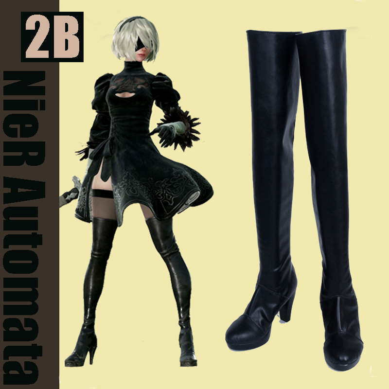 [Customize] PU Leather Game NieR Automata 2B Boots cosplay Shoes Any sizes NEW 2017