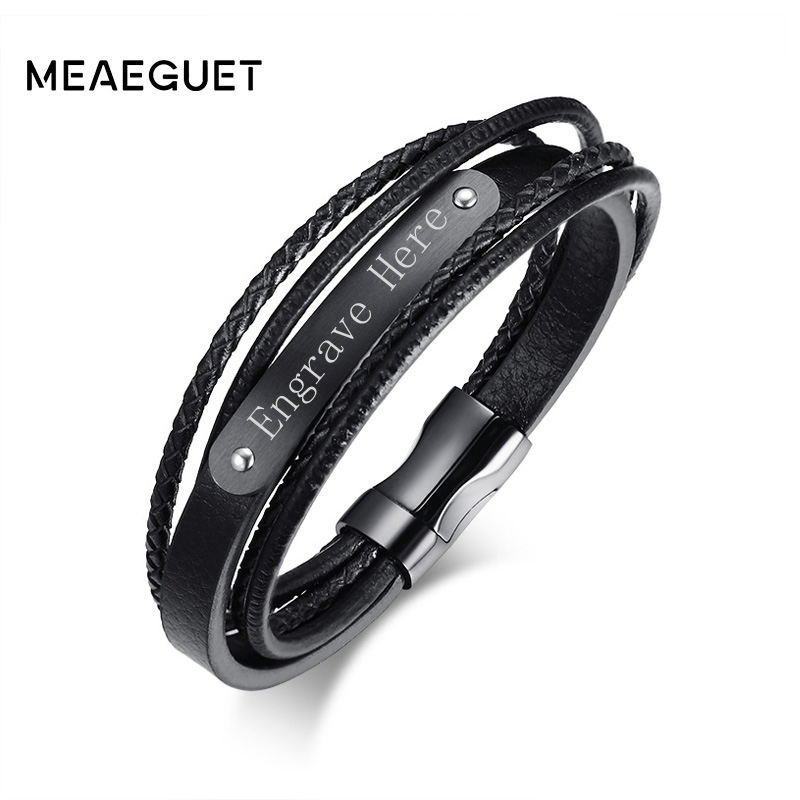 Meaeguet Free Engrave & Laser Black Layered Braided Microfiber Leather ID Bracelet Stainless Steel Bracelet & Bangle Men Jewelry stylish faux leather layered braided bracelet for men
