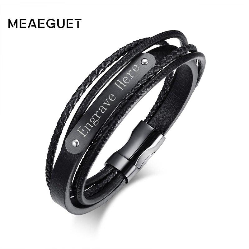 Meaeguet Free Engrave & Laser Black Layered Braided Microfib