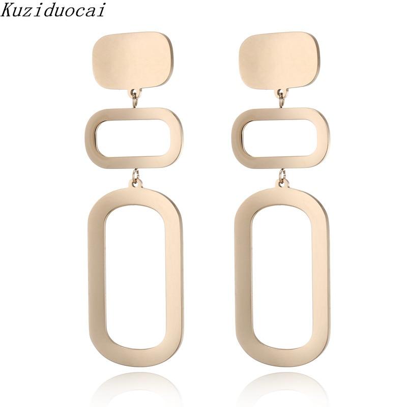 Kuziduocai 2018 New ! Fashion Fine Jewelry Titanium Stainless Steel Stitching Geometry Arc Stud Earrings For Women Gifts E-1215