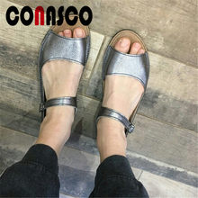 CONASCO Women Classic Elegant PU Leather Flats Shoes Buckle Strap Concise Leisure Basic Shoes Women Round Toe Sexy Retro Flats(China)