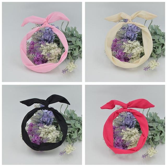1pcs Free shipping women's Lovely solid Rabbit Bunny Ear Ribbon Metal Wire Headband Scarf Hair Head Band Bow