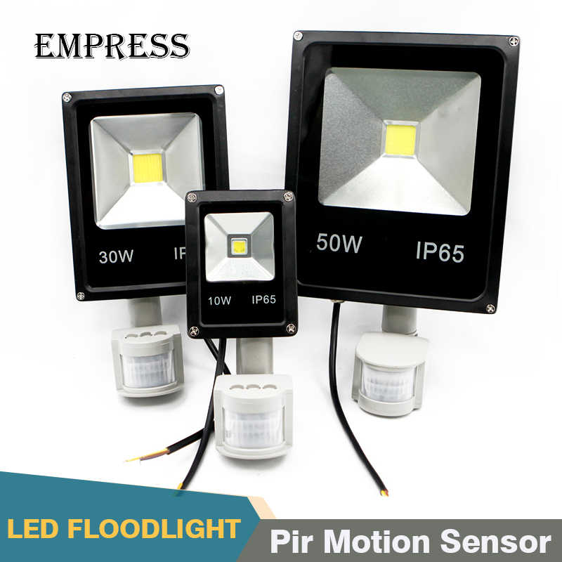 Flood Light Led Lamp 220V ip65 10w 30w 50w LED Infrared Floodlight With Pir Motion Sensor Spotlight Outdoor Led Reflector Garden