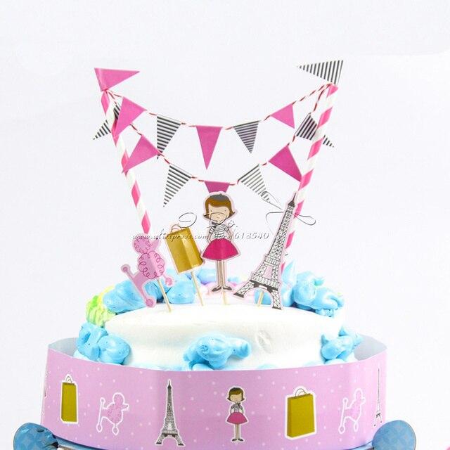 Free Shipping Fashion Girl Birthday Cake Topper Birthday Party