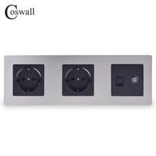COSWALL 스테인레스 스틸 패널 이중 벽 소켓 16A EU 전원 콘센트 + 여성 TV 잭 RJ45 CAT5E 인터넷 포트 실버 블랙