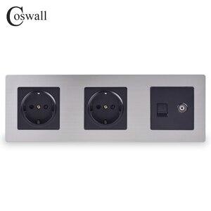 Image 1 - COSWALL 스테인레스 스틸 패널 이중 벽 소켓 16A EU 전원 콘센트 + 여성 TV 잭 RJ45 CAT5E 인터넷 포트 실버 블랙