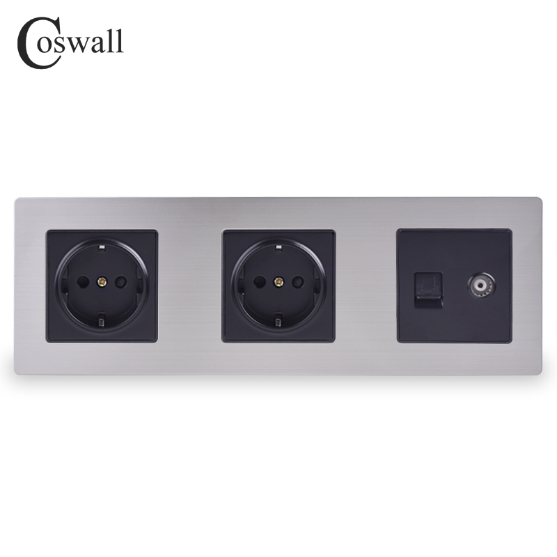 COSWALL Stainless Steel Panel Double Wall Socket 16A EU Power Outlet + Female TV Jack with RJ45 CAT5E Internet Port Silver BlackCOSWALL Stainless Steel Panel Double Wall Socket 16A EU Power Outlet + Female TV Jack with RJ45 CAT5E Internet Port Silver Black