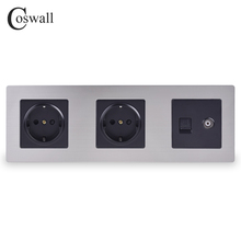 COSWALL Stainless Steel Panel Double Wall Socket 16A EU Power Outlet + Female TV Jack with RJ45 CAT5E Internet Port Silver Black