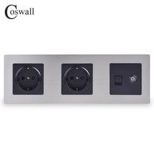 COSWALL enchufe de pared doble de acero inoxidable, toma de corriente de la UE de 16A + conector hembra de TV con puerto de Internet RJ45 CAT5E, color plateado y negro