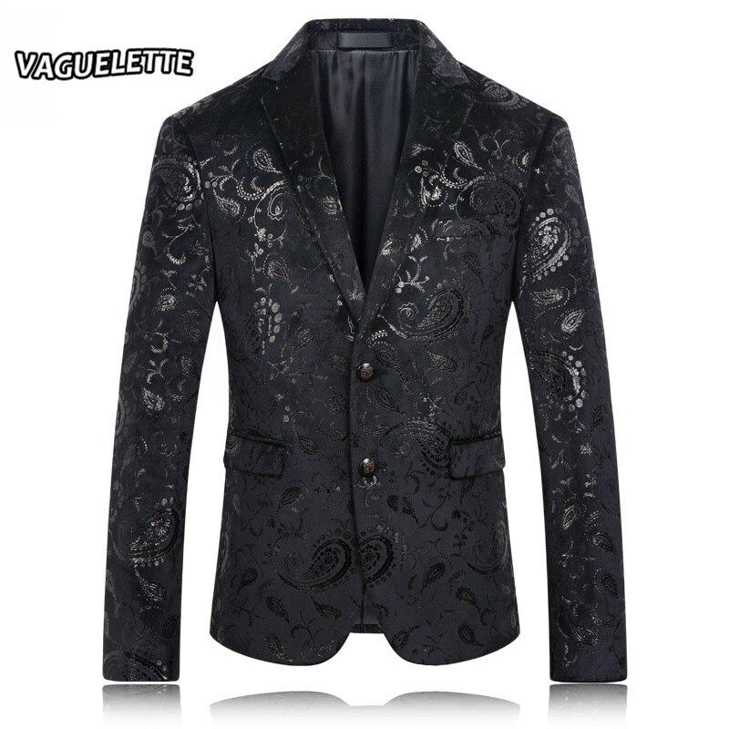 Черный пиджак Для мужчин цветочный узор Пейсли Свадебный костюм куртка Slim Fit стильные сценические костюмы Одежда Для Певица Для мужчин s бле...