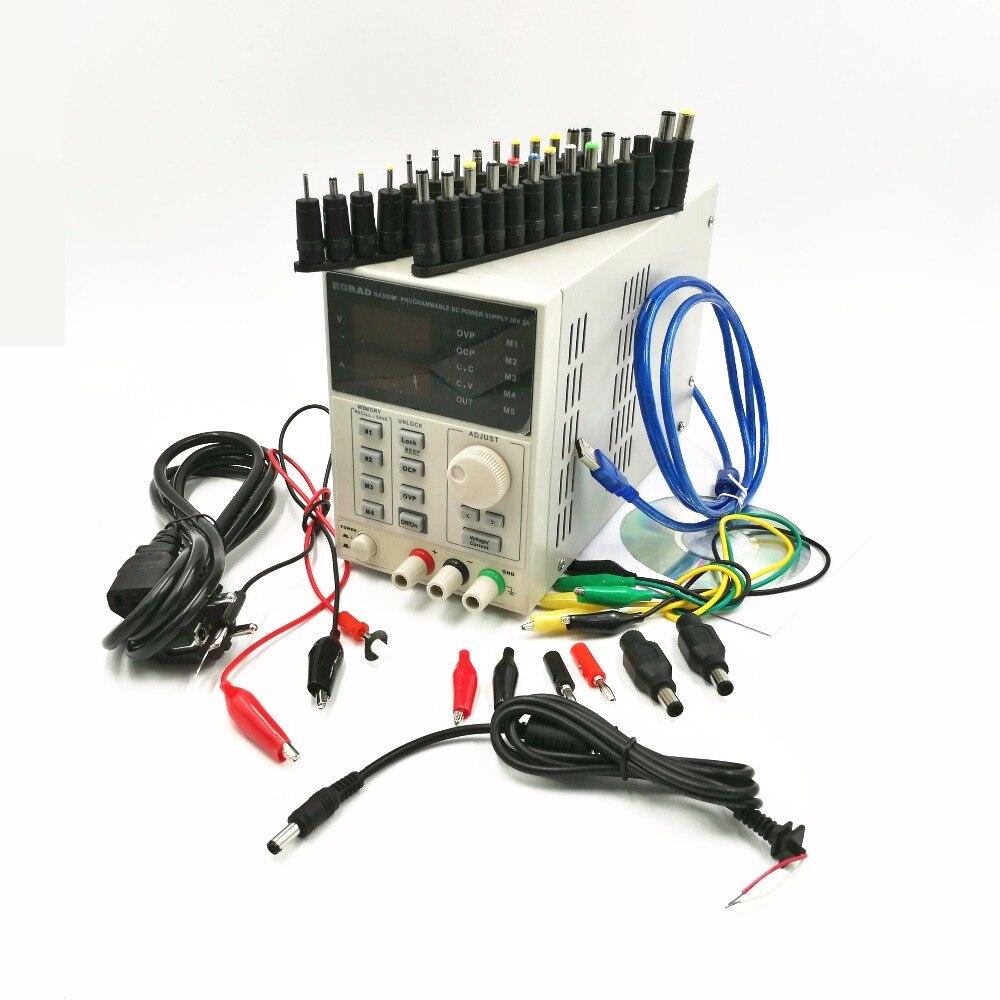 Alimentation linéaire réglable Programmable de cc de 30 V/5A KA3005P avec USB et logiciel + adaptateur de powe d'interface d'ordinateur portable de 39 pièces