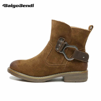 Trendy Womens Winter Low Heel Ankle Boots Girls Thick Heel Strap Belt Buckle Cowboy Martin Boots