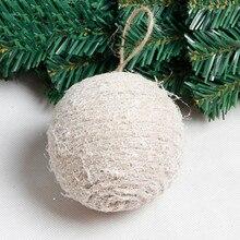 1pcs 8cm 10cm Hemp Rope Foam Snow Ball Christmas Tree Decorations Christmas Decorations for Home