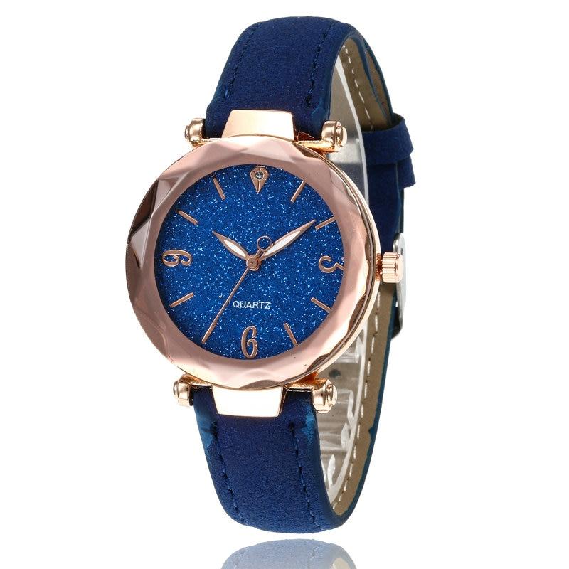Маленькие свежие мягкие часы женские повседневные кварцевые часы кожа алмазный обруч звездное небо часы Женские Аналоговые наручные часы 100 шт/партия - Цвет: Синий
