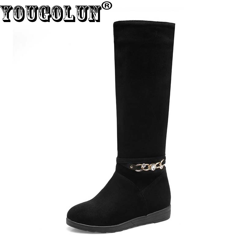 YOUGOLUN Women Knee High Boots 2017 New Autumn Winter PU Chains Crystal Low Heel Wedges Heels Black Round toe Shoes #Y-194 new women knee high boots black and white sexy low heels pu leather autumn winter shoes round flat platform boots botas mujer