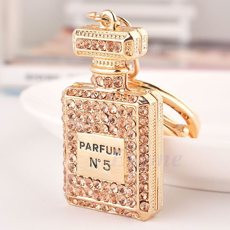 Lovely Parfym Fragrance Bottle Charm Pendent Rhinestone Purse Bag Nyckelring Present