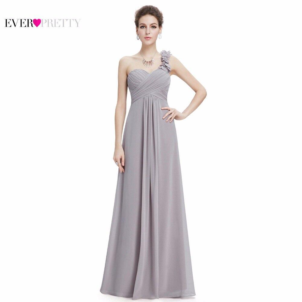 Discount Evening Gowns: Cheap Long Evening Dresses Flowers One Shoulder Chiffon