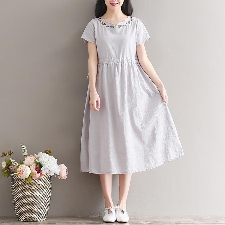 ae863b6779 Latest summer western lady long dress fashion elegant linen dress-in  Dresses from Women s Clothing on Aliexpress.com