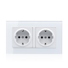 цена на Wall Crystal Glass Panel Power  Germany Socket Grounded 16a Eu Standard Electrical Black Double Outlet 146mm * 86mm