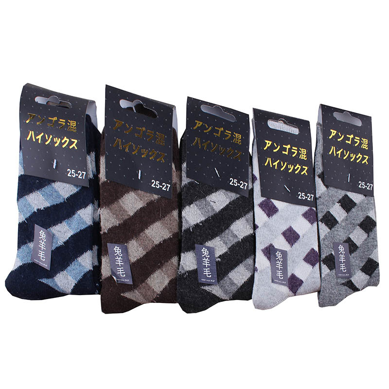 Pure wool Mens Socks Winter Cashmere angora Socks Winter Thickening Thermal Socks High Quality grid