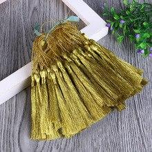 50pcs/lot 130mm Long Rayon Thread Silk Tassels Gold Color Earrings Charms Tassels for DIY Jewelry Making Borlas Piel
