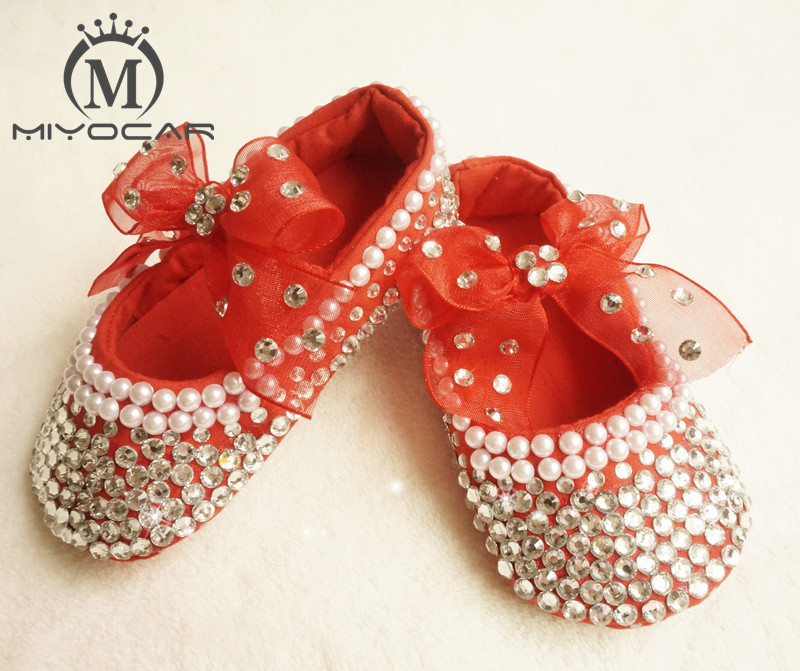 MIYOCAR Personalized Stunning red rhinestone crystal Baby Girl children shoes handmade Bling Diamond first Walker infant shoes