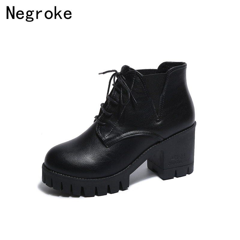 2018 New Platform Ankle Boots Women Chunky Heels Lace Up Leather Short Booties Black Ladies Shoes Sapato Feminino недорого