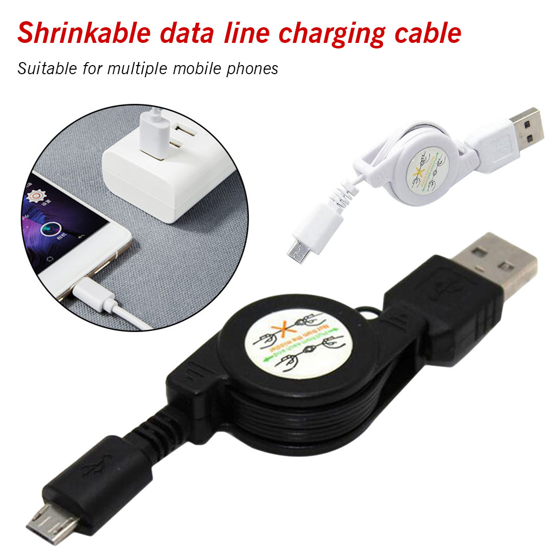 Usb-Cable Telescopic Fast-Charging Type-C Three-In-One Multifunction 1 For Android 3-In-1