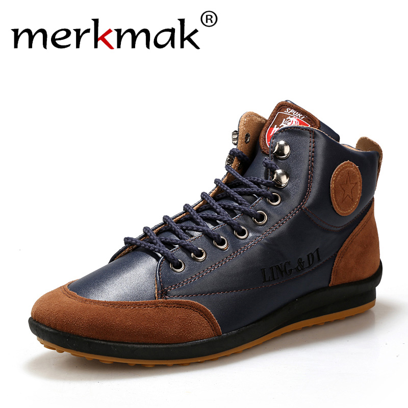 Leather Boots Autumn Winter Warm Cotton Ankle Men Shoes