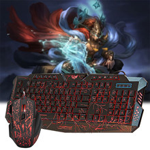 Adjustable 5500DPI Mouse+114Keys USB Wired Keyboard Gaming Keyboard Mouse Combo Anti-ghosting Colorful Backlit for Gamer Gaming(China)